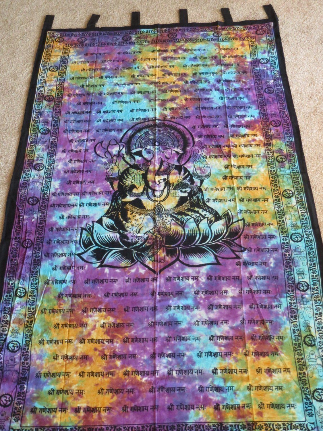 Lord Ganesh GANESHA Hindu Tie Dye Indian TAPESTRY Wall Hang Door Window CURTAIN - Thumbnail 1 ... & Lord Ganesh GANESHA Hindu Tie Dye Indian TAPESTRY Wall Hang Door ...