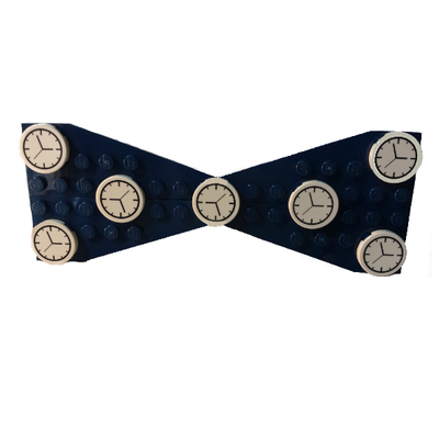 Lego® navy/clocks polka dot