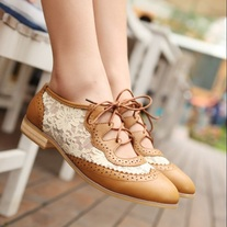 Lace Cutout Oxford