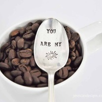 You are my Sunshine  -  Hand Stamped Vintage Teaspoon