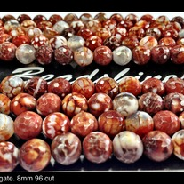 Brown Fire Agate. 8mm 96cut faceted
