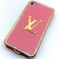 Pink Leather LV Case (iPhone 4)