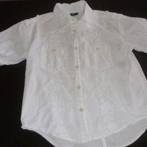 White Cotton Button Shirt with White Embroidery-Gap Kids Size 6-7