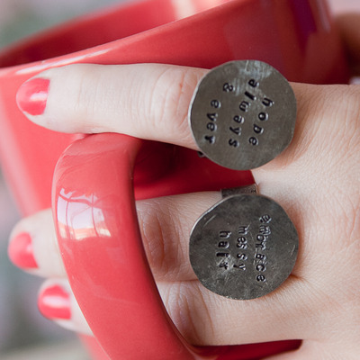 Coin rings {quirky quotes}