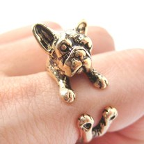French Bulldog Puppy Animal Wrap Ring in Shiny Gold - Sizes 5 to 9