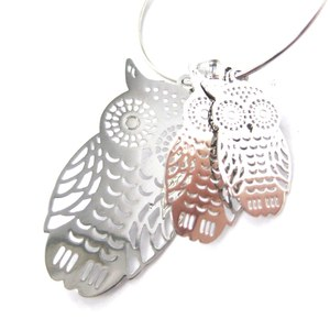 Owl Shaped Animal Themed Dangle Hoop Earrings in Silver with Dye Cut Details