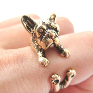 French Bulldog Puppy Animal Wrap Ring in Shiny Gold | Sizes 4 to 9 Available