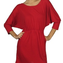 Batwing Dress With Draped Chain Back - Red