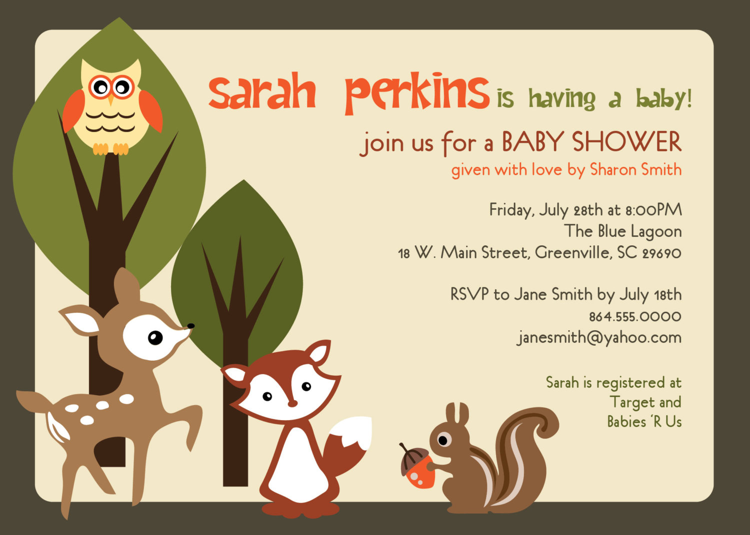 picture regarding Printable Squirrel Target called Youngster Shower Invites, Woodland Pets Creatures Forest, Personalized Uni Deer, Owl, Squirrel, Fox, tan, Fixed OF 10 in opposition to OhCreativeOne, LLC