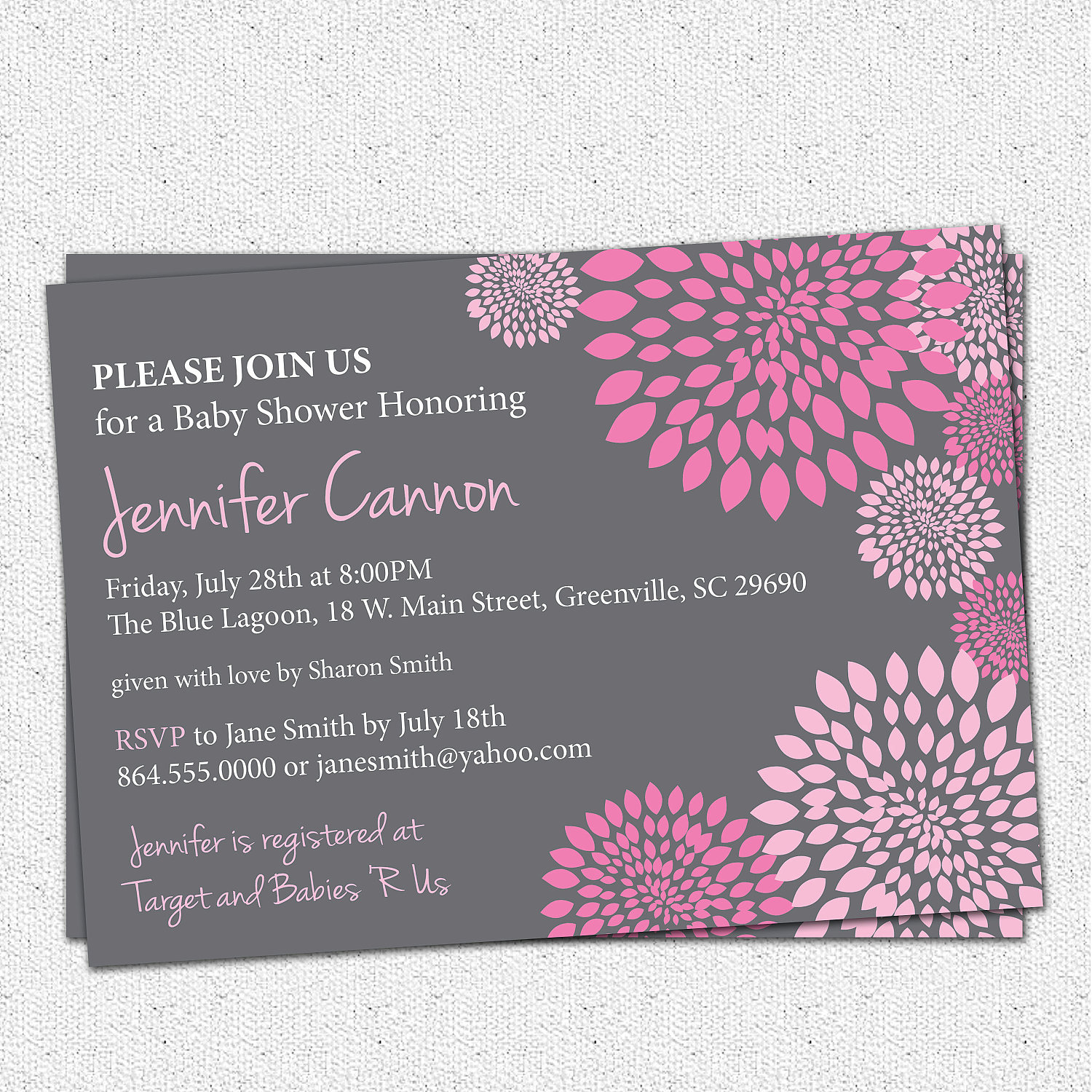 Baby Shower Invitations, Girl Hot and Pale Pink and Charcoal Grey ...