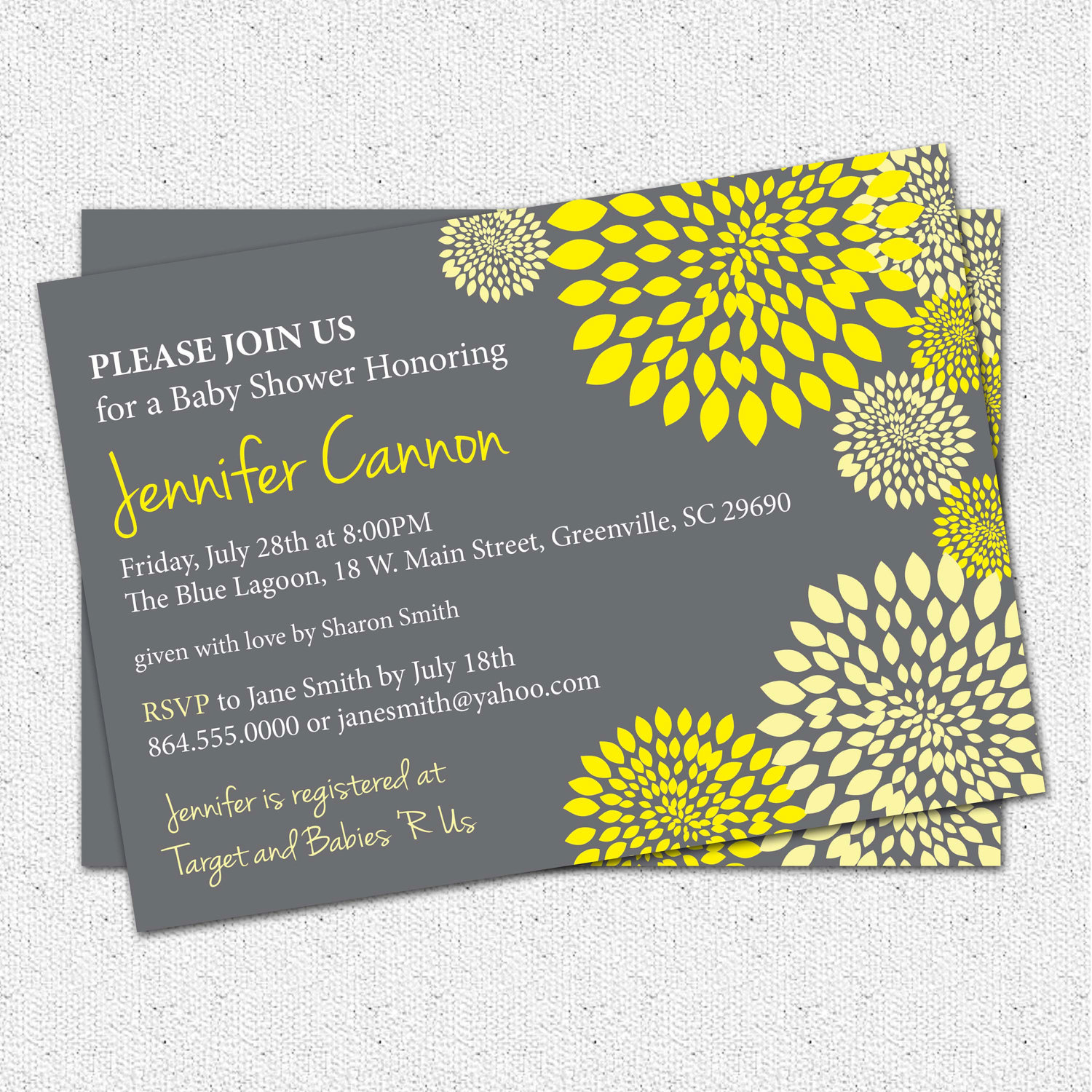 Baby Shower Invitations, Gender Neutral Boy or Girl Yellow and ...