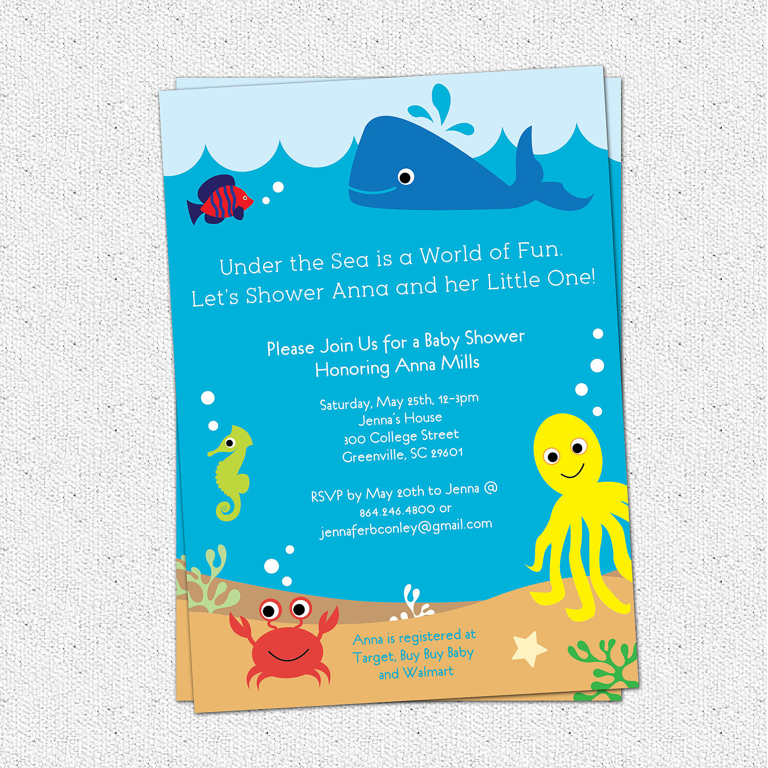 Under the sea baby shower invitations creatures boy girl gender under the sea baby shower invitations creatures boy girl gender neutral whale fish filmwisefo Image collections
