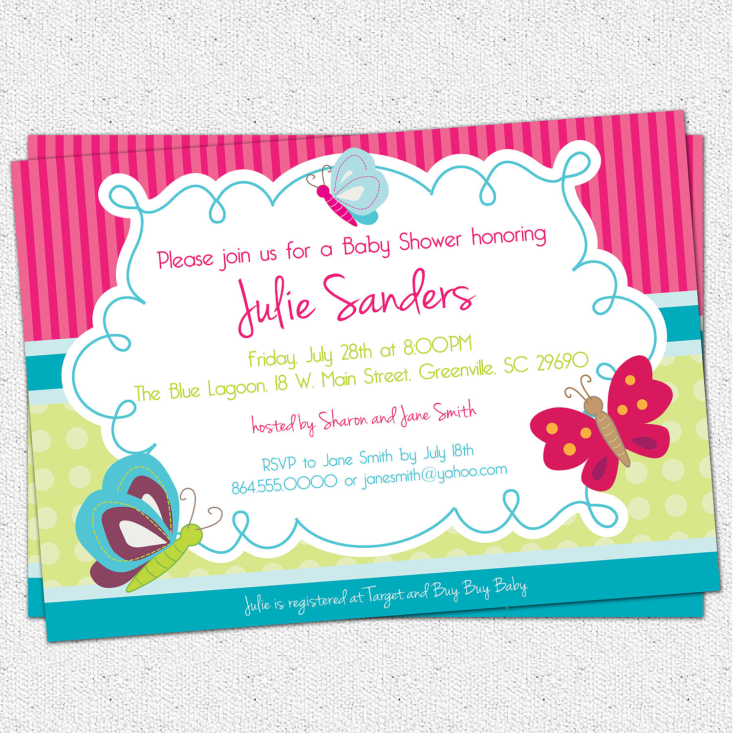 Butterfly Baby Shower Invitations, Butterflies, Spring, Gender Neutral,  Girl, SET OF