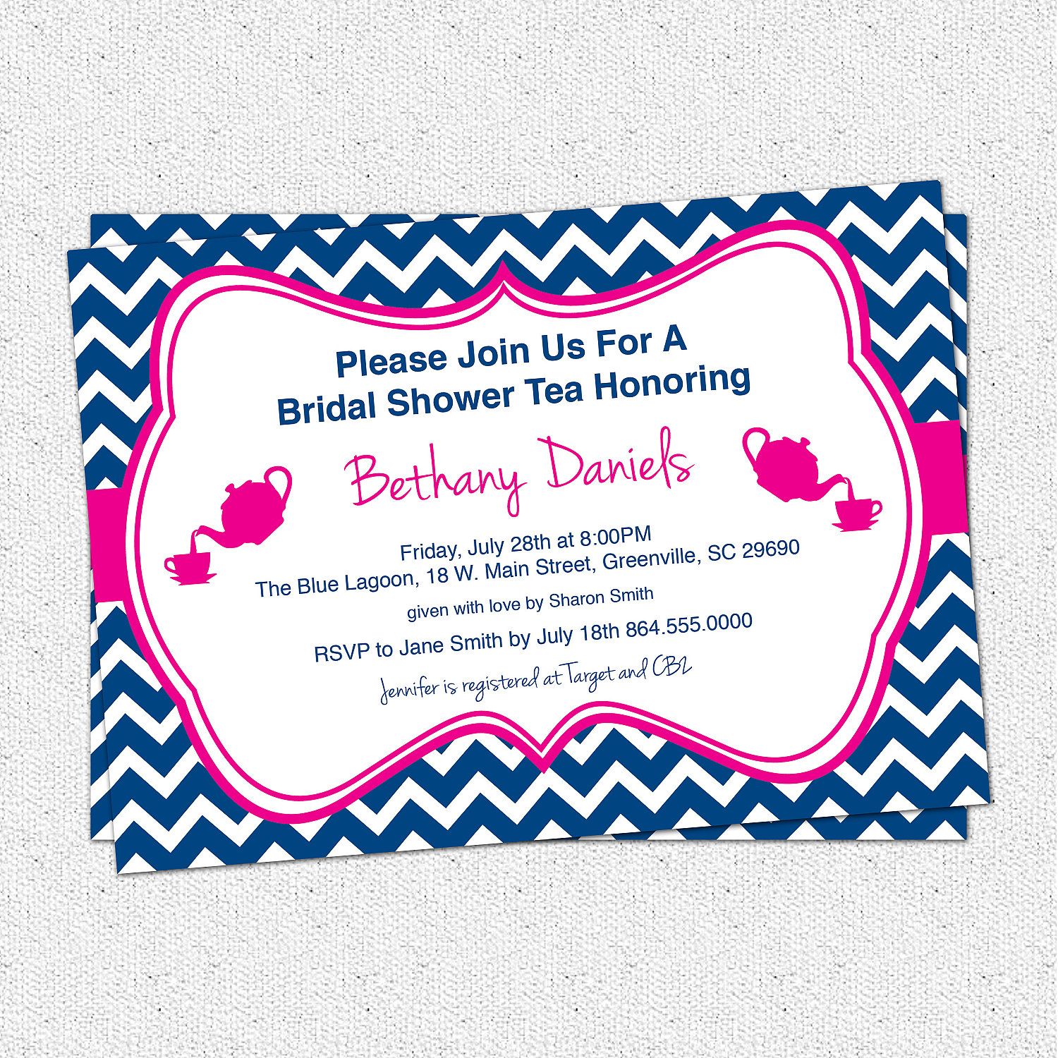 Bridal Baby Shower Birthday Party Invitations Tea Chevron