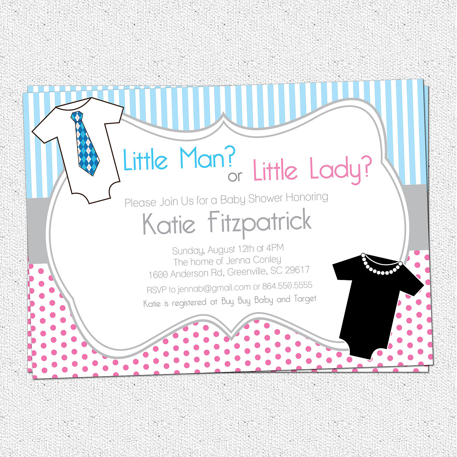 Gender Neutral Reveal Baby Shower Invitations, Printable, Little Man ...