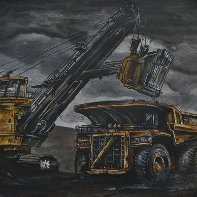 Haul truck mounted print