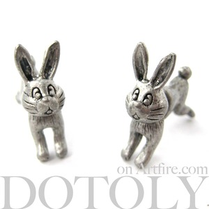 3D Fake Gauge Cute Bunny Rabbit Animal Stud Earrings in Silver