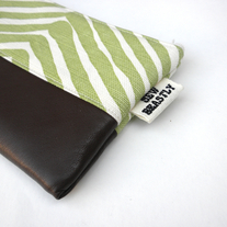 LEATHER + GREEN CHEVRON CLUTCH