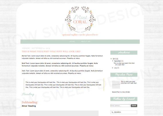mint coral premade blogger template how sweet designs online