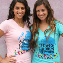 """Feeding Children Everywhere: Logo"" - Pink & Turquoise V Neck"