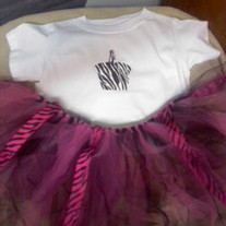 Birthday Outfit- Zebra Style Tutu and shirt with zebra print design,  & barrette