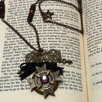 goth victorian bronze star medal pendant purple gem black ribbon locket necklace
