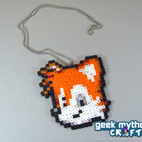 Tails Miles Prower - Sonic the Hedgehog Perler Bead Sprite Necklace