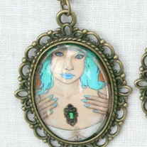 """Blue Pin-Up"" Antique Bronze Gothic Art Pendant Necklace"