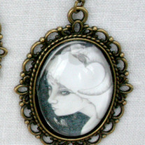 """Pale Sheep"" Antique Bronze Gothic Art Pendant Necklace"