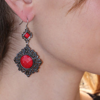 Vintage Rouge Drop Earrings