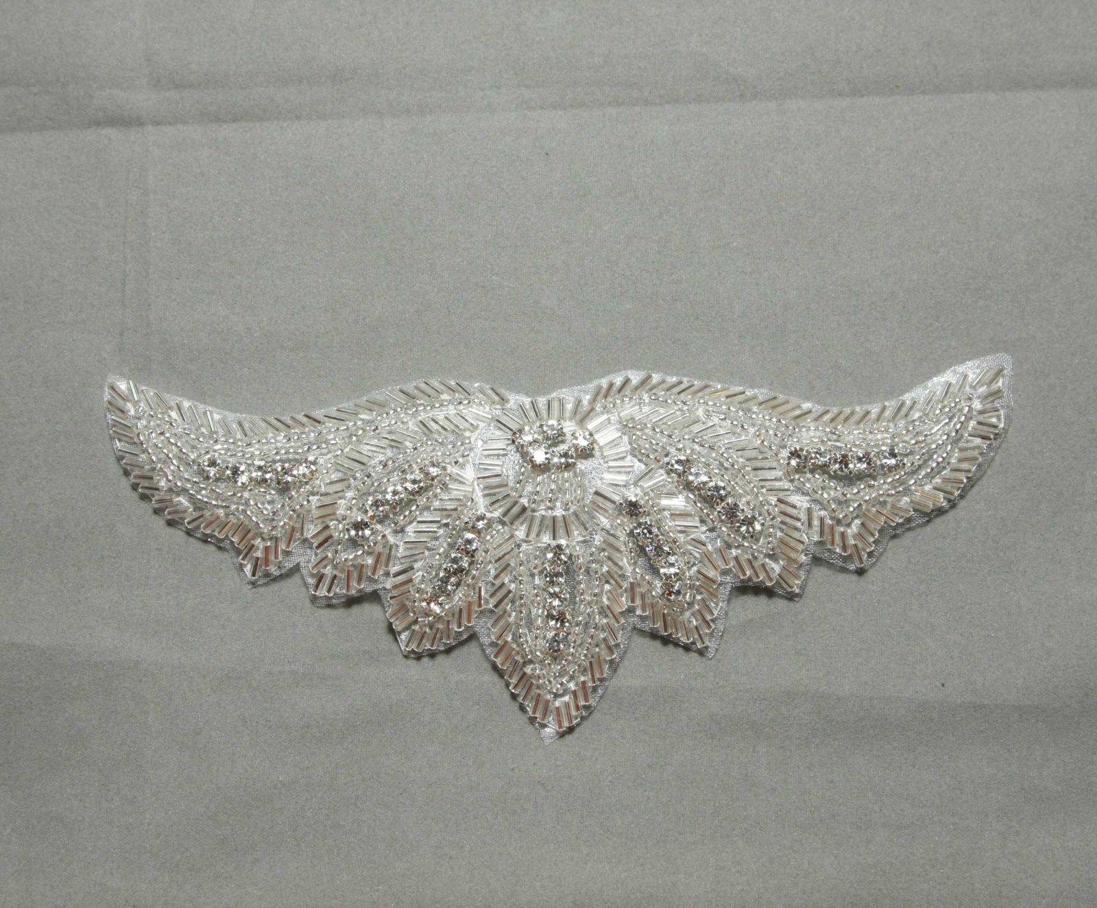 Sew iron crystal rhinestone sash wedding bridal gown wing applique
