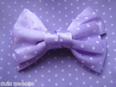 Lilac Polka Dot Hair Bow