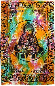 Buddha Tapestry Wall Hangings buddha tie-dye zen buddhism hippie boho wall hanging indian