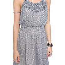 L forever 21 black white gingham check chiffon tie strap sleeveless mini dress