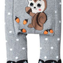 Ground Squirrel Chipmunk Legging Pants in Black and Grey with Stars and Stripes Girls Leggings