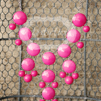 large knotiebubble necklace - pink w/ silver