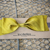 big silk knotiebow headband - yellow