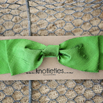 big silk knotiebow headband - apple green