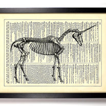 Image of Unicorn Skeleton, Vintage Dictionary Print, 8 x 10