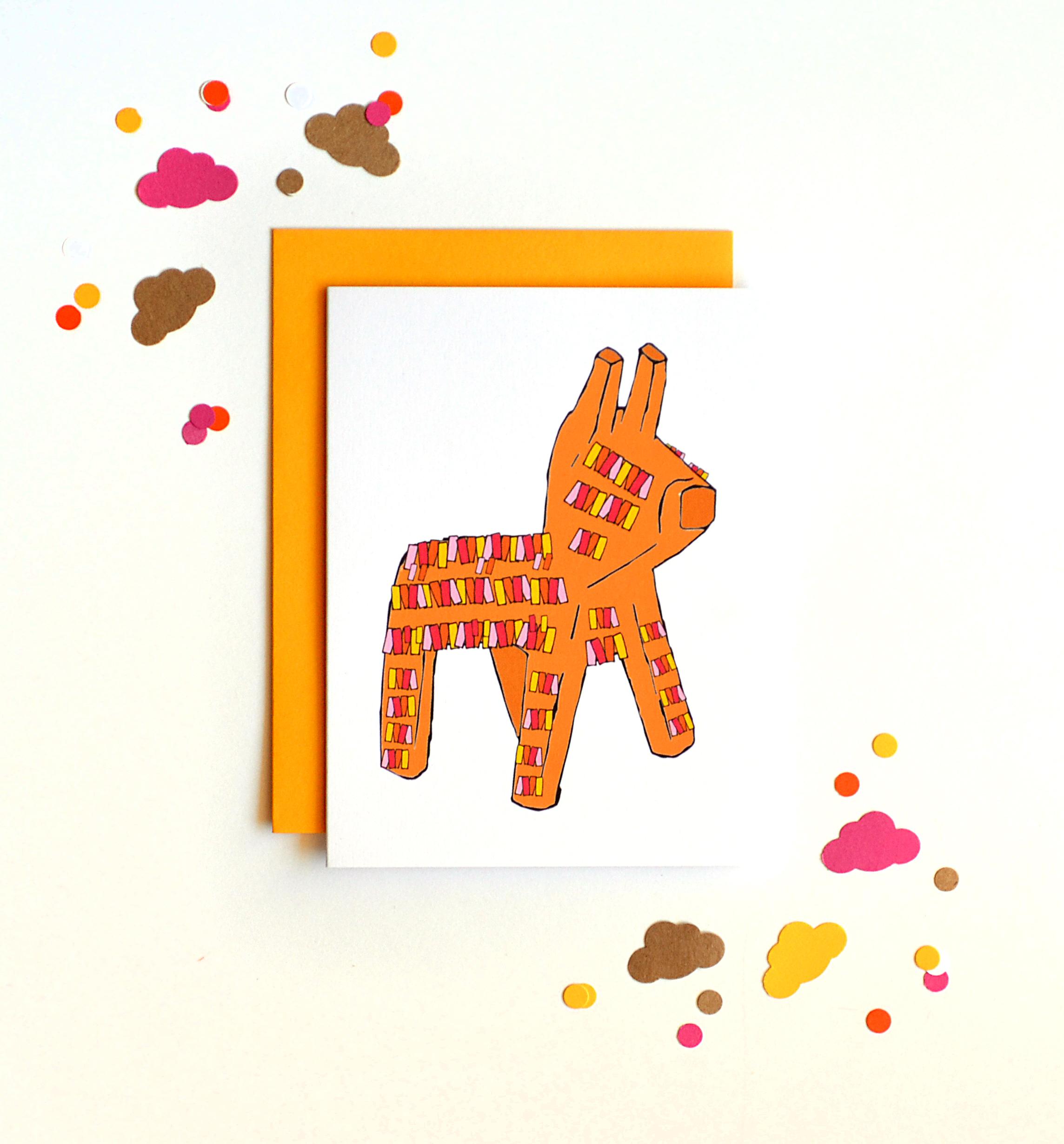 Donkey Pinata Card Hand Drawn Party Card Birthday Card – Donkey Birthday Card