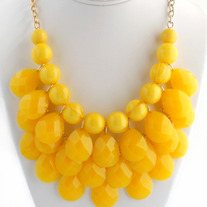 Yellow Bubble Bib Statement Necklace