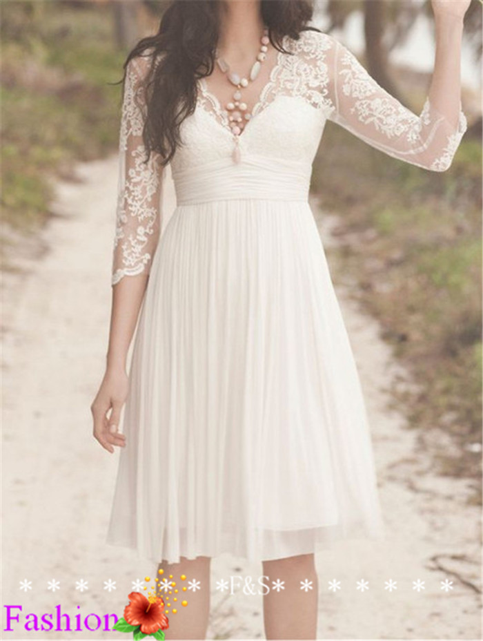 Short Lace Wedding Dress Ivory Wedding Dress Simple Long Sleeve White Reception Wedding Dress