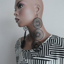 Black Pinwheel Earrings
