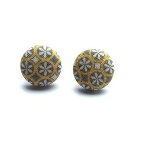 Grey/Yellow Mod Button Earrings
