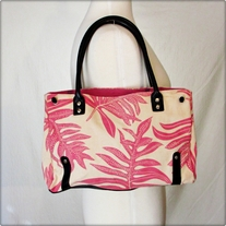 Pink and White Canvas Tote
