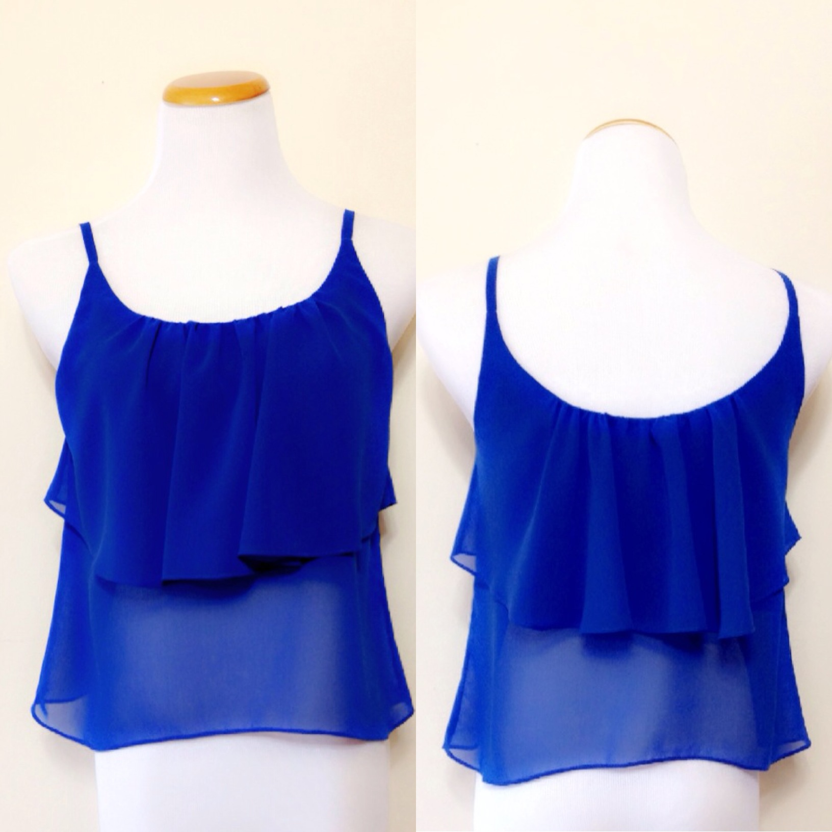 Tank Top Chiffon Blouse Royal Blue S/M/L · Style by Apple · Online ...