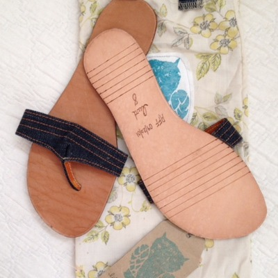 Little wing designs recycled denim flip flops