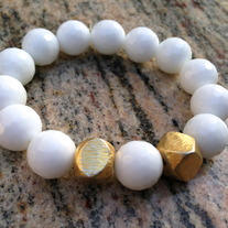 22K Plated Gold White Agate bracelet