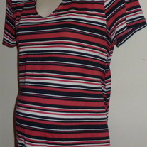 Navy/Pink/White Stripe Shirt-Baby and Me Maternity Size Medium