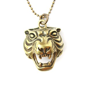Fierce Tiger Face Head Shaped Animal Pendant Necklace in Bronze